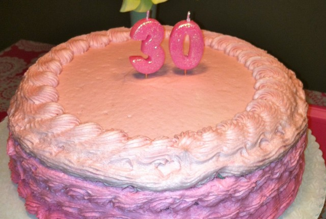 Pink Ombre 30th Birthday Cake
