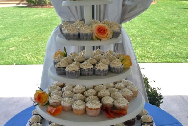 Allison + Morgan's Wedding red velvet cake plus cupcakes