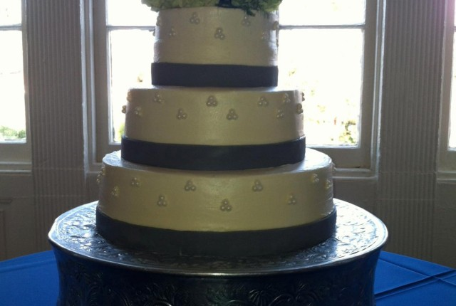 3-tier chocolate cake with vanilla buttercream icing